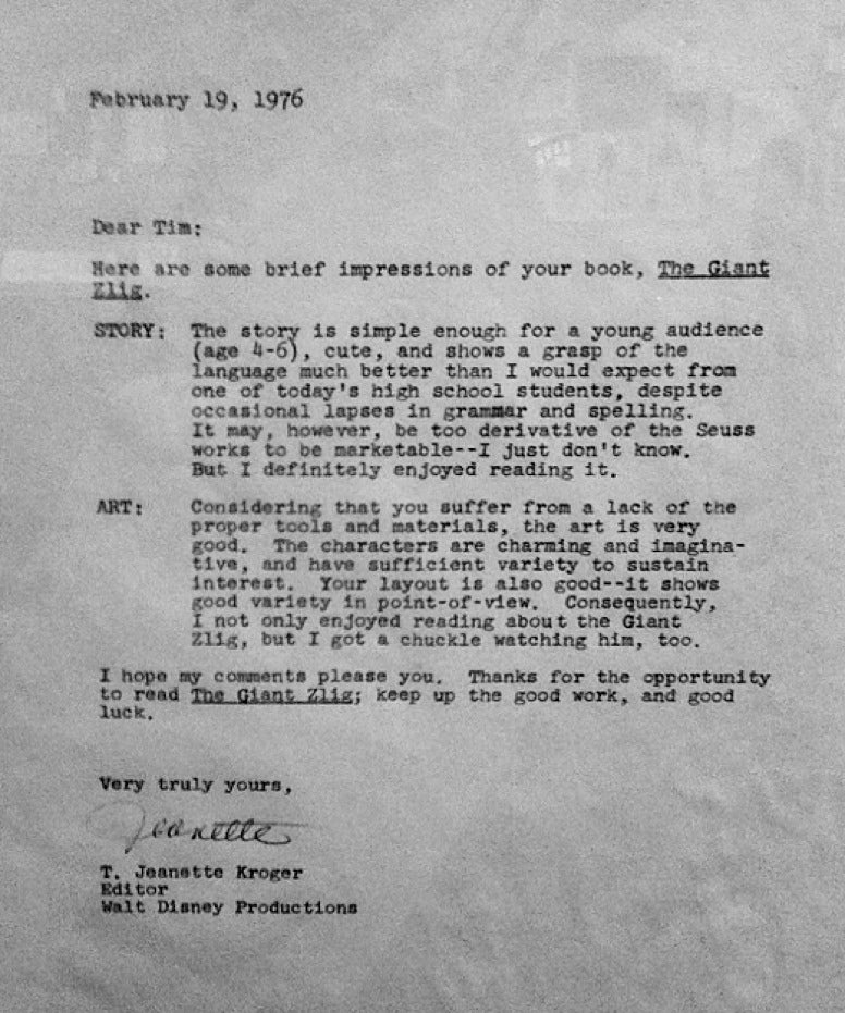 Read Disney's rejection letter to an 18-year-old Tim Burton