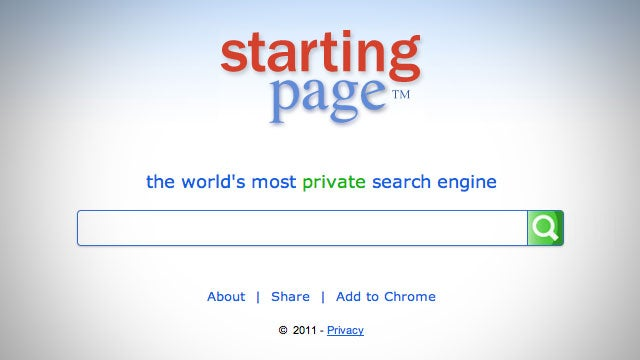 Starting Page Makes Your Google Searches Completely Anyonymous