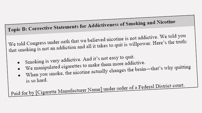 Tobacco Companies Asked to Admit They Were Dirty Lying Scumbags