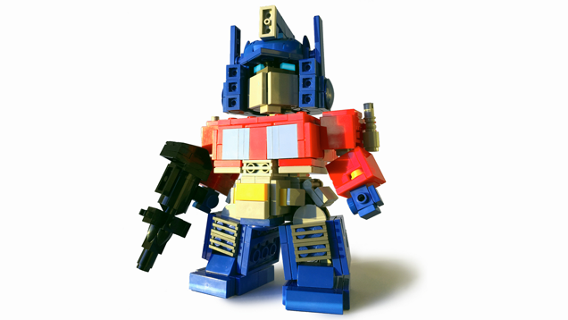 Optimus Prime is even blockier than usual made out of Lego