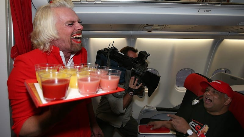 Richard Branson Serves Juice on the Airline of Your Nightmares