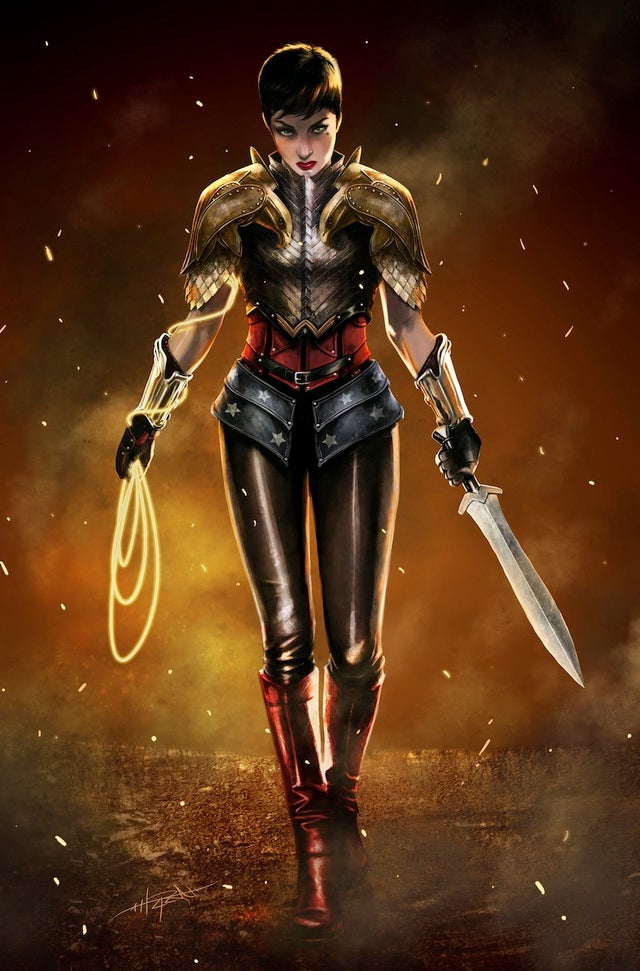 Short-haired, armored Wonder Woman is ready for battle