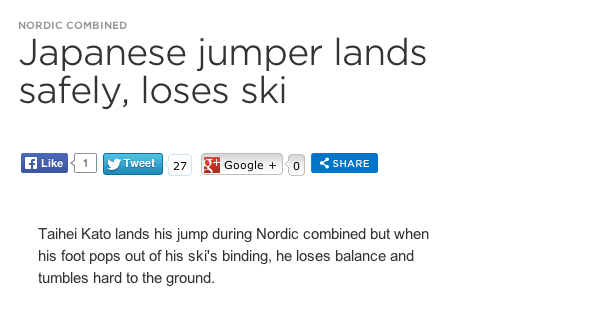 "Japanese Skier Breaks Arm In Crash; NBC Video Says He ""Lands Safely"""
