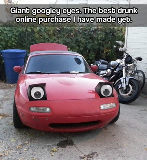 Drunk or not, it's a worthy Miata accessory. :) p.s. Are you seeing this Pixar?