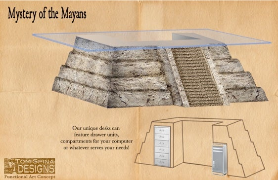 Mayan Temple Desk Tells You Who's Boss