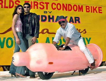 India's Condom Bike For AIDS Awareness