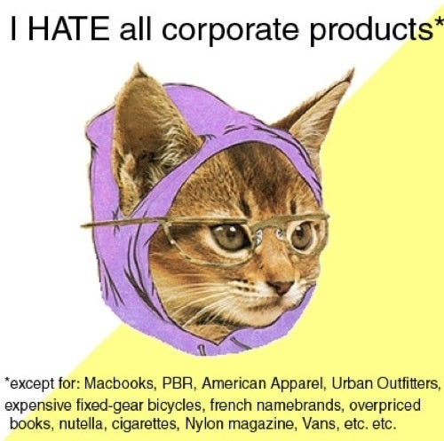 Hipster Kitty Hates All Corporate Products
