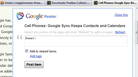 AddTo Google Reader Script Shares Any Page With a Keystroke