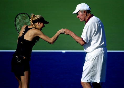 Anna Kournikova Loves An Old Man In Whites Who Likes To Pound Fists