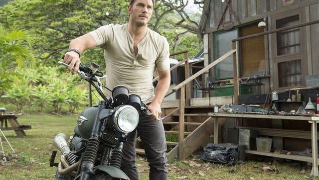 Chris Pratt Rides With Raptors In Jurassic World On A Triumph Scrambler