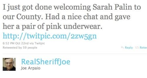 Creepy Sheriff Gives Sarah Palin Pink Underwear