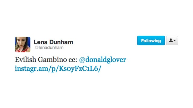 Lena Dunham Catches Donald Glover Red-Handed