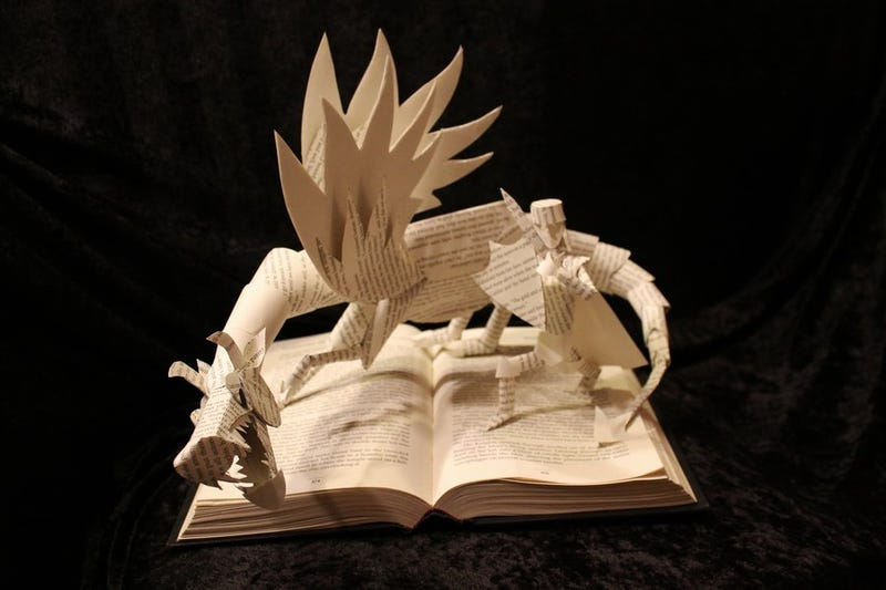 Storybook characters burst from their pages in these incredible paper sculptures