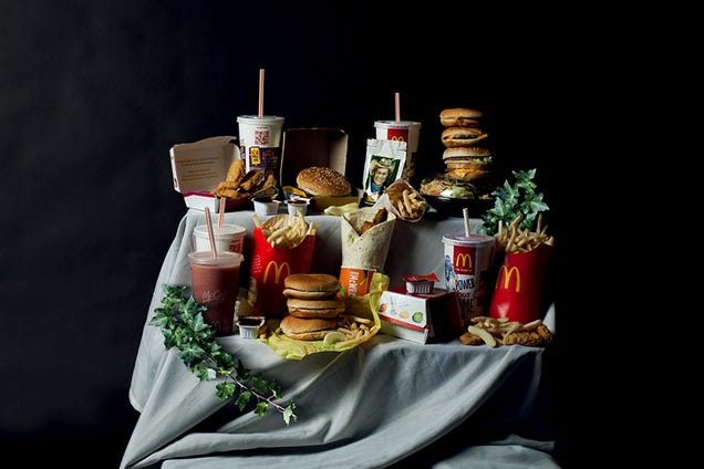 Hilarious photographs recreate Renaissance paintings with junk food