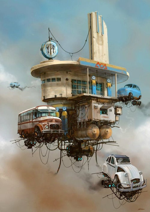 Concept Art Writing Prompt: The Aerial Gas Station and Churro Stand