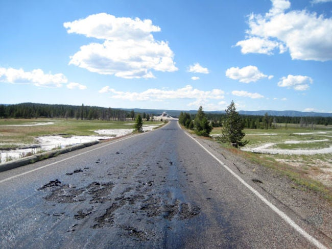 Hot Ground Turns Road to Goo in Yellowstone National Park