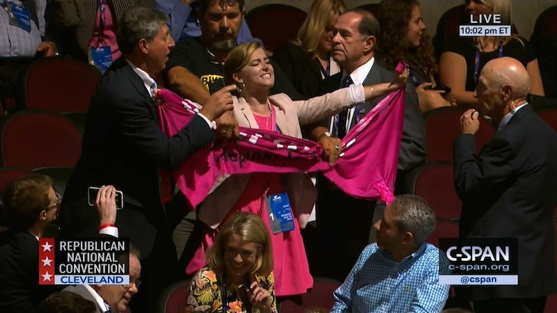 Code Pink Protesters Infiltrate RNC, Wave 'Refugees Welcome' Banner