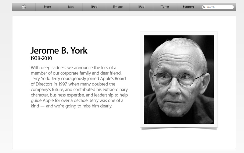 Today, Steve Jobs Is Sad: The Passing of Jerome York