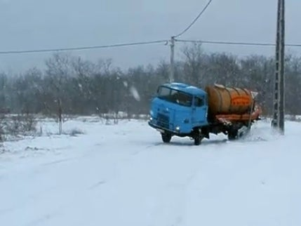 Hooning a Septic Tank Truck in November Snow