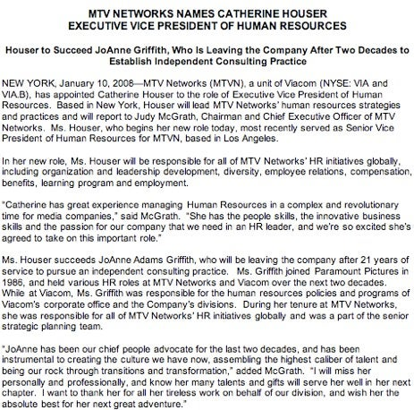"Departing HR Chief At MTV Networks Had ""Great People Touch"""