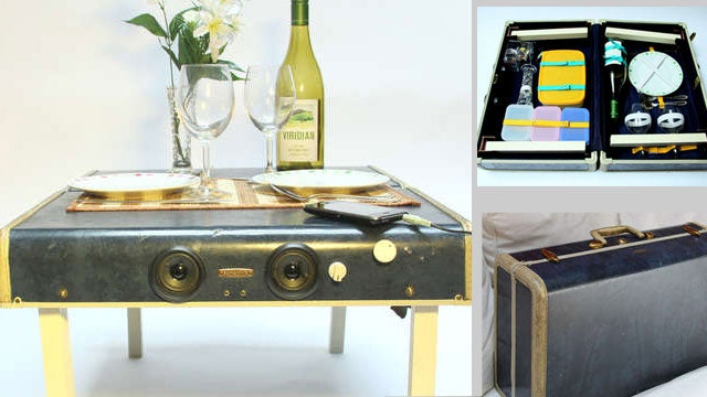DIY Picnic Suitcase Transforms into a Table with Speaker System