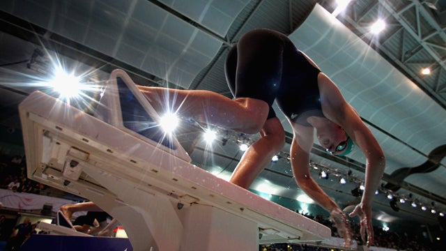 Swimmer Dives Into Another Day At The Office