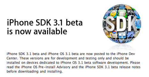 iPhone 3.1 SDK Available Now