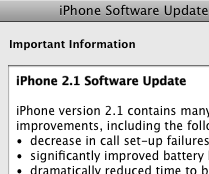 iPhone 2.1 Update Available from iTunes