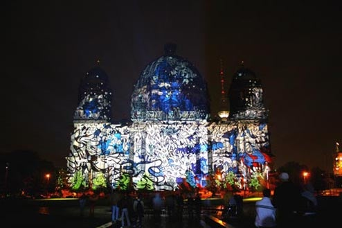 The Berliner Dom Projected with Graffiti
