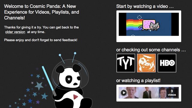 "Remains of the Day: YouTube Launches New Redesign Entitled ""Cosmic Panda"""