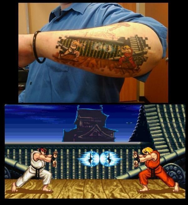 Full Screen, Half Arm Street Fighter Tat