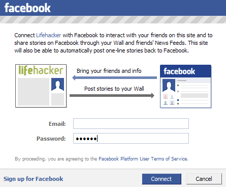 Log into Lifehacker Using Facebook Connect