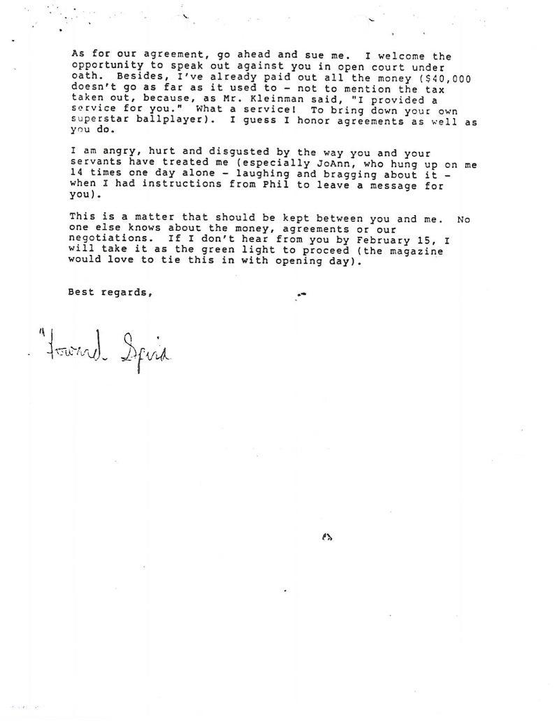 Howie Spira's Letters