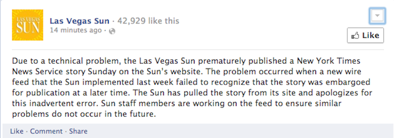 NY Times Editor Brags About Story, Las Vegas Sun Scoops It [Updates]