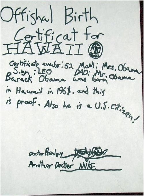 Happy Where's the Birth Certificate Day, Barack Obama!