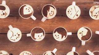 Cute love story animated completely with latte art