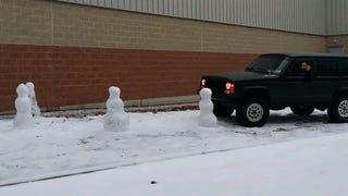 Here's A Dude Running Over Snowmen Because Screw Winter