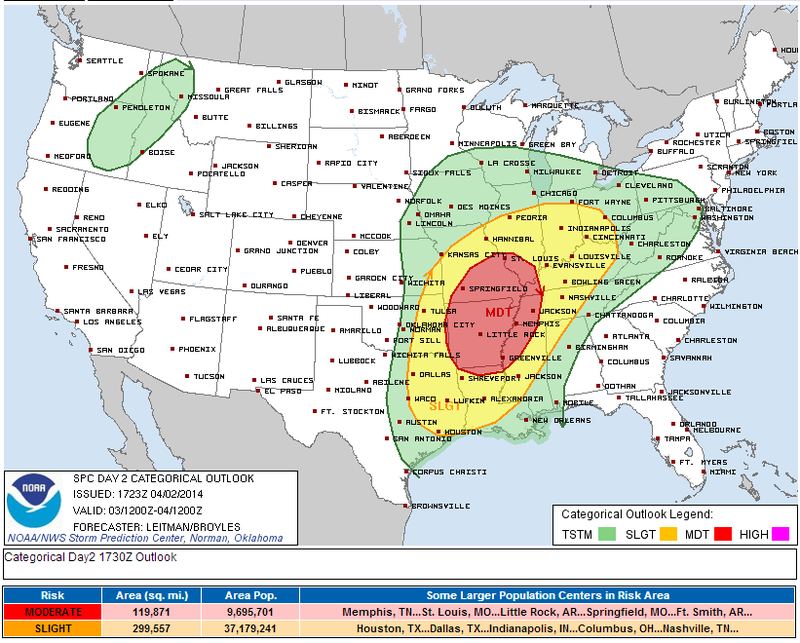 Tornadoes and Very Large Hail Possible Tomorrow in Miss./Ohio Valleys
