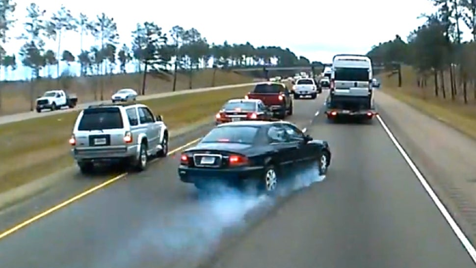 Watch Hell Break Loose As Lucky Idiots Slam Their Brakes