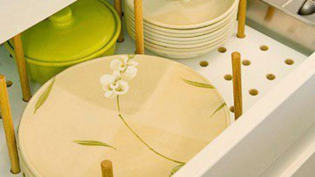 Store Dishes in Drawers with Pegboard and Wooden Dowels