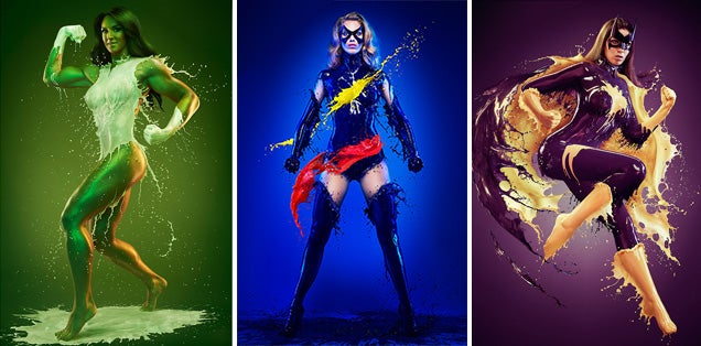 Famous superheroines wearing suits made of liquid paint look really cool