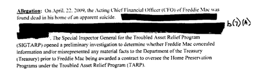 Freddie Mac CFO Was Investigated by TARP after Suicide