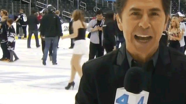 Woman Walking On Staples Center Ice Eats It On Live TV