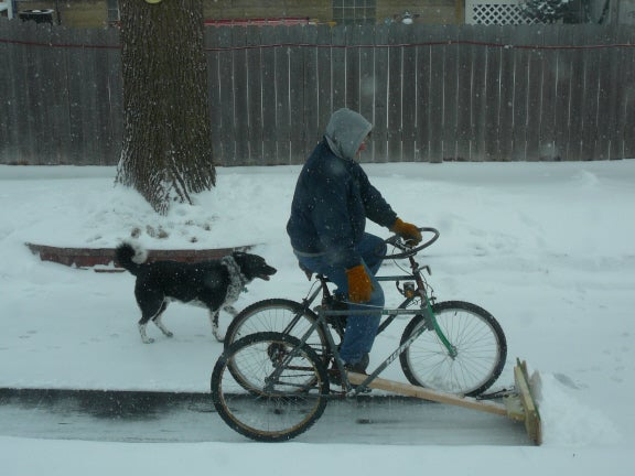 DIY Bicycle Snow Plow Works Great For Light Snow