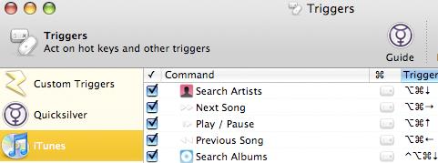 Control iTunes with Quicksilver