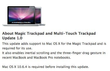 Apple Driver Update Adds Magic Trackpad Support, Enables Inertial Scrolling on Older MacBooks