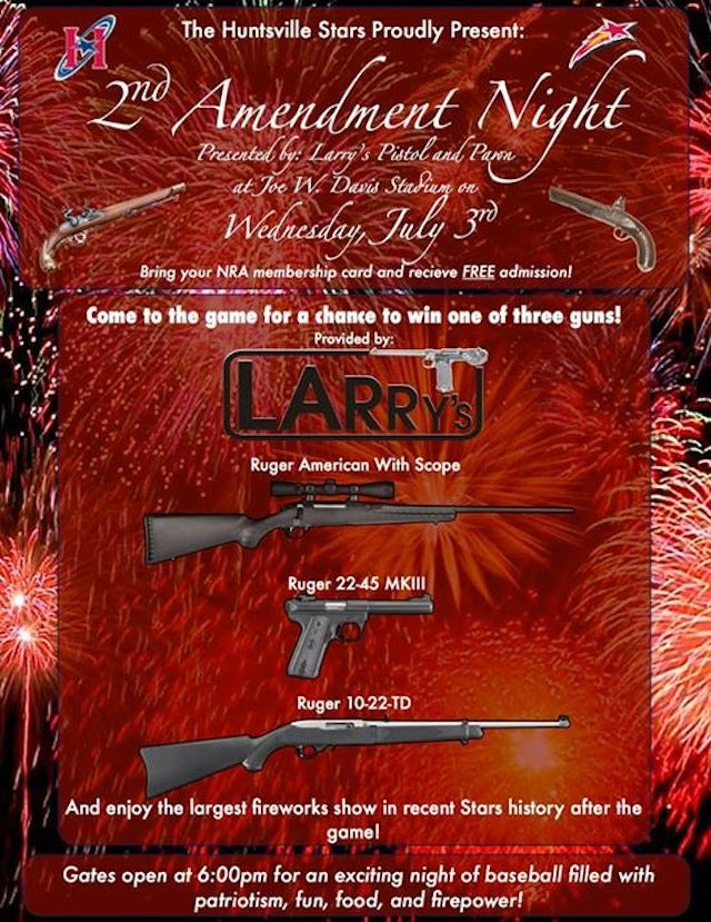 "Minor-League Team Giving Away Guns On ""Second Amendment Night"""