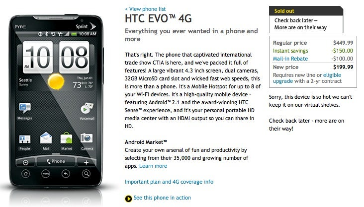 HTC EVO 4G Sold Out