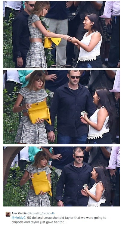 In Central Park today, Taylor Swift gave a fan $90 for Chipotle