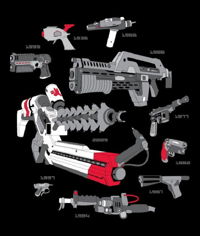 Choose your weapons! A T-shirt that's also a timeline of futuristic guns